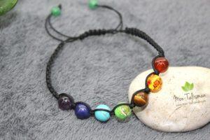 Bracelet 7 chakras corde noir