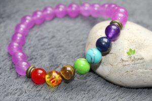 Bracelet 7 chakras orné d'améthyste