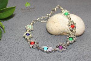 Bracelet main de fatma avec oeil couleur