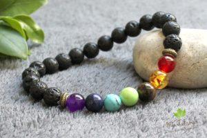 Bracelet pierres de lave 7 chakras