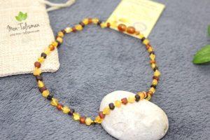 Collier ambre bicolor