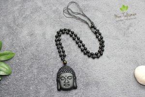 Pendentif tête de bouddha noir