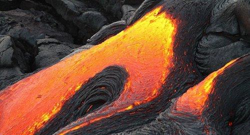 Coulée de lave volcanique